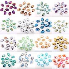 50PCS Olive Shape Flat Round Loose Spacer Crystal Glass Beads Jewelry DIY 8mm