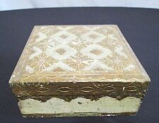 """Vintage Gold Gilded Trinket Jewelry Treasure Box Made in Italy 5""""x 5""""x 2"""""""