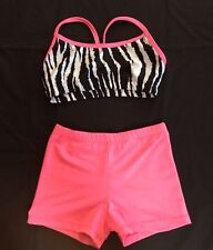 dance cheer tumbling crop top shorts set pink black zebra print Youth Large L