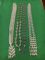 4 Vintage Beaded Faux Pearl Lariat Necklace Tassels Fringe