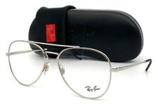 Ray Ban AVIATOR RX6413 2501 Silver Black /  Demo Lens 56mm Eyeglasses RB6413