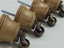 4x WOODEN FURNITURE FEET WITH ANTIQUE CASTORS, SOFA, CHAIR, SETTEES M8(8mm)