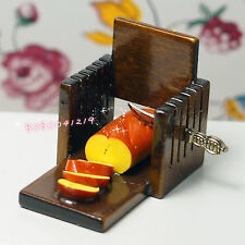 Dollhouse Miniature kitchen food a wooden bread board with knife F4763B