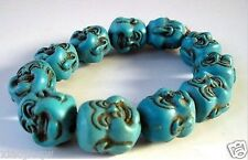Exquisite Chinese Turquoise Handmade Bracelet Buddha RR