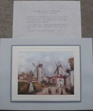 """UTRILLO'S """"THREE WINDMILLS OF MONTMARTRE """" ART WAS REPRODUCED IN ITALY ON SILK"""
