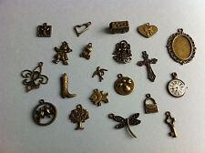 20 pendant charm charm jewelry creation bronze 00004000  heart angel cross key