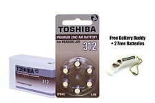 Toshiba Hearing Aid Batteries Size 312 (60 Cells) + Free Keychain/2 Batteries