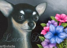ACEO art print Dog 80 black Chihuahua from original painting by L.Dumas
