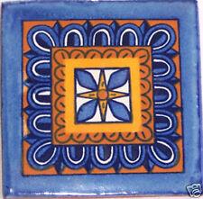 12 Mexican Ceramic 4x4 Inch Clay Folk Art Tile C122