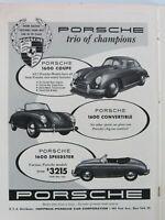 1957 Porsche 1600 Coupe Convertible Speedster Original Vintage Print Ad 1 Page