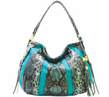 Aimee Kestenberg Pebble Leather & Suede Hobo Tuscany Teal Snake NWT Handbag