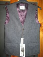 NEXT Mens Tweed Grey Tailored Waistcoat Size 36 Regular With Tags