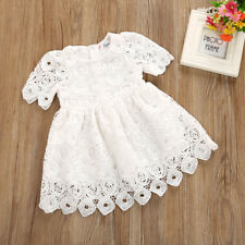Summer Toddler Baby Girl Floral Lace Short Sleeve Princess Party Dress Outfits