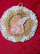 Antique Victorian Reproduction Christmas Ornament - Scrap Angel on Doily w/Trim