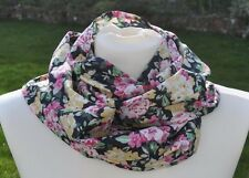 New scarf in Laura Ashley cotton, pink, cream, yellow, black, flowers pretty