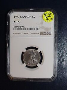 1927 Canada Nickel NGC AU58 5C Coin PRICED TO SELL RIGHT NOW!