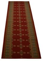 "Custom Size Antibacterial Kilim Southwest Red Non Skid Runner Rug  26""W"
