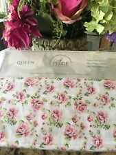 S.L Home Fashions Isabelle Shabby Chic Pink Flowers Queen Sheet Set 4PC NIP