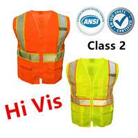 Hi Vis ANSI Class 2 Reflective Tape Safety Work Vest High Visibility w/ Pockets