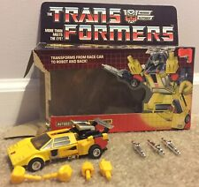 Vintage G1 Transformers Sunstreaker With Box Weapons Fists Takara 1984 Japan!!!