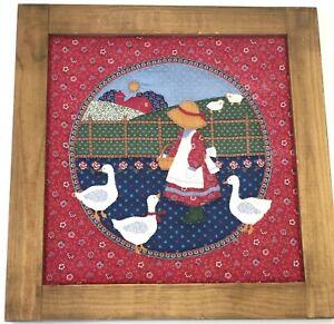 "Vintage Framed Amish Girl Quilted Farm Scene Fabric Art Lancaster 17.5"" Handmade"