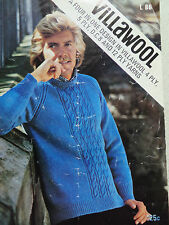 VILLAWOOL  MANS JUMPER PATTERN  LEAFLET L86 / 4,5 AND 12 PLY SIZES 38-46INS