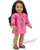 "Doll Clothes 18"" Dress Pink Pom Pom Sophia's Fits American Girl Dolls"