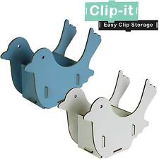 JVL Clip-It Blue White Cute Bird Shaped Clip Together Desk Tidy Storage Box