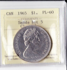 Canadian Canada silver dollar $ 1 Coin 1965 PL 60  SB BLT5 ICCS Certified  PR 60