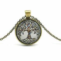 Baum des Lebens Lucky Retro Halskette Mit Glas Cabochon Anhänger Lebensbaum