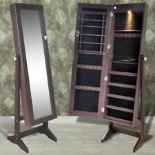 Sieradenkast met LED-lamp en spiegeldeur (bruin) sieraden juwelen kast kist