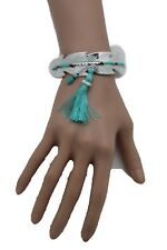 Cute Women Silver Metal Leaf Cuff Bracelet Turquoise Blue Feather Tassel Native