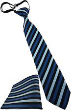 Security Sicherheits Krawatte + Einstecktuch in blau türkis schwarz mit Gummizug