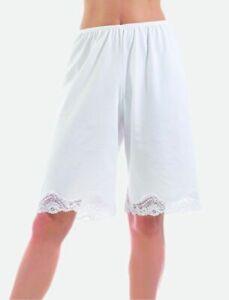 Nylon Pettipants, Cullote Slip Lace trim 9-Inch Inseam 3 colors sizes S-3X
