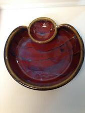 ESTEBAN'S SEDONA RED BLUE BROWN HAND MADE CERAMIC CHIP & DIP DISH BOWL SIGNED