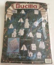 Little Snow Village Xmas Ornament Plastic Canvas Needlepoint Kit Vintage 1993
