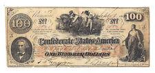 Ct-41 1862 Confederate States of America $100 Note No.10828