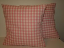 """LAURA ASHLEY GINGHAM PINK PAIR OF 16"""" CUSHION COVERS"""