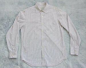 BANANA REPUBLIC Long Sleeve Striped White Dress Shirt 14-14.5 Neck Size Small