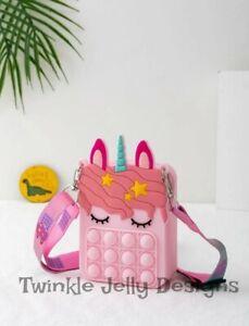 Personalised Push popper fidget unicorn across body bag sensory toy purse pop it
