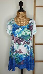 ZEN GARDEN Colourful Floral Print Blouse Top Shirt Short Sleeve Size Medium
