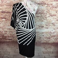 BCBG Maxazria Womens Dress Size M Black White Abstract One Shoulder New