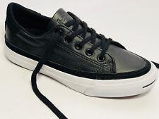 Converse cuero cortos zapatos talla 38,5 (UK 5,5) negro borde blanco