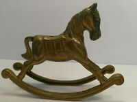 "Vintage Brass Rocking Horse Christmas Mantel Fireplace Decor 3.5"" Tall"