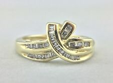 LADIES 10K YELLOW GOLD RING WITH ROUND AND BAGUETTE .45 CTW DIAMONDS, SIZE 7 #12