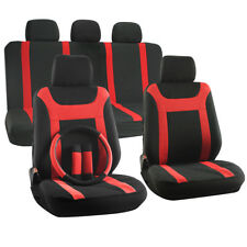 SUV Van Truck Seat Cover 17pc Steering Wheel/Belt Pad/Head Rest Red Y Stripe