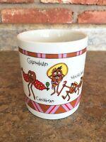 International Coffee Bean Cartoon Coffee Cup Mug Different Beans Columbian Java