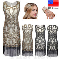 1920s Flapper Dress Great Gatsby Party Cocktail Sequins Fringed Tassels Dresses