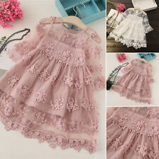 Kid's Princess Lace Dresses Floral Girls Baby Party Pageant Wedding Dresses 2-7Y