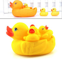 4pcs/set Baby Shower Rubber Squeaky Ducks Play Water Bathing Pool Tub Toys